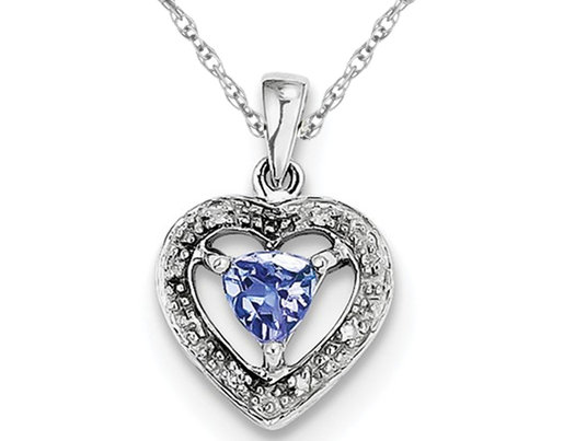 Sterling Silver Tanzanite Heart Pendant Necklace with Chian 1/3 Carat (ctw)