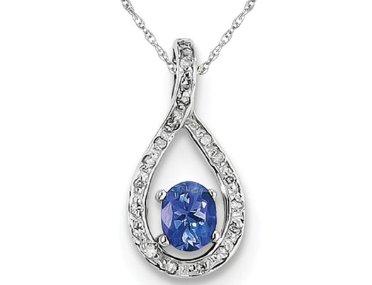 Sterling Silver Tanzanite Infinity Pendant Necklace with Chain 1/4 Carat (ctw)