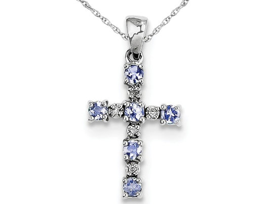 Sterling Silver Tanzanite Cross Pendant Necklace with Chain 1/3 Carat (ctw)