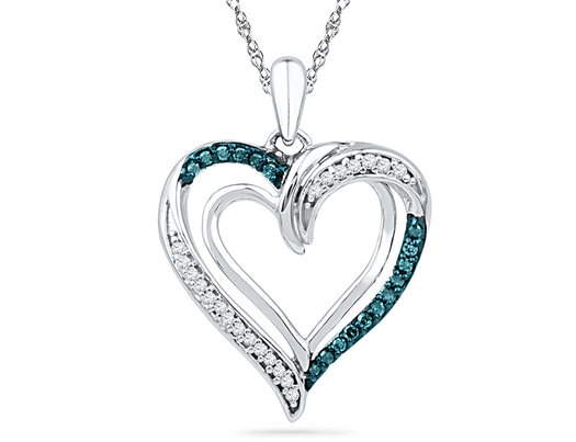 Enhanced Blue Diamond Heart Pendant Necklace in 10K White Gold 1/6 Carat (ctw)