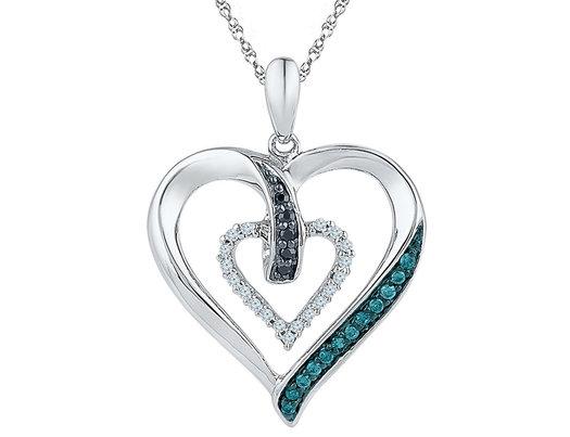 1/6 Carat (ctw) Enhanced Black & Blue Diamond Heart Pendant Necklace in 10K White Gold