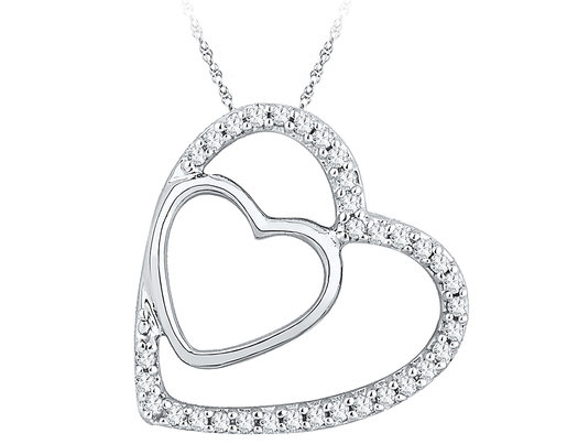 Double Heart Pendant Necklace in 10K White Gold with Accent Diamonds 1/8 Carat (ctw)