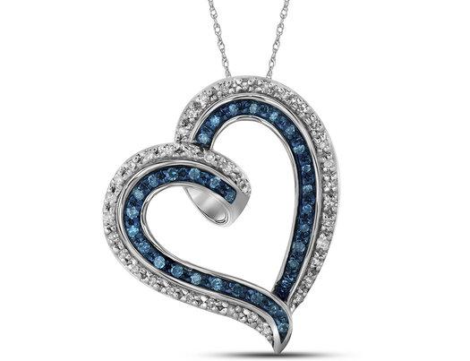 Enhanced Blue Diamond Heart Pendant Necklace in 10K White Gold 1/5 Carat (ctw)