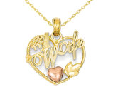 14K Yellow and Pink Gold #1 WIFE Heart Pendant Necklace with Chain