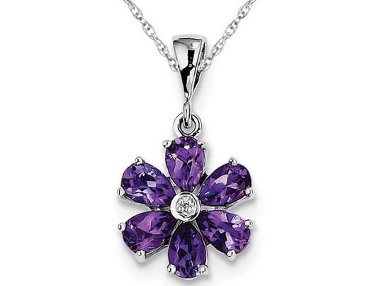 2.25 Carat (ctw) Amethyst Flower Pendant Necklace in Sterling Silver