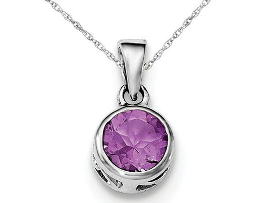 Solitaire Round Amethyst Pendant Necklace in Sterling Silver 3/4 Carat (ctw)