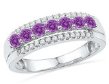 Lab Created Amethyst 1/2 Carat  (ctw) and Diamond Ring Band in 10K White Gold