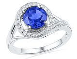 Ladies Lab Created Blue Sapphire 1.75 Carat (ctw) Ring in 10K White Gold with Diamonds 1/20 Carat (ctw)