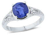 Ladies Lab Created Blue Sapphire 2.25 Carat (ctw) Ring in 10K White Gold with Diamonds 1/4 Carat (ctw)