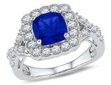 Ladies Lab Created Blue Sapphire 2.75 Carat (ctw) Ring in 10K White Gold with Diamonds 1.00 Carat (ctw)