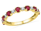 Lab Created Ruby 1.00 Carat (ctw) Wedding Band Ring with Diamonds (Clarity I2-I3) 10K Yellow Gold