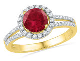 Lab Created Ruby 1.31 Carat (ctw) Halo Ring in 10K Yellow Gold with Diamonds 1/4 Carat (ctw)