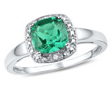 1.75 Carat (ctw) Lab-Created Emerald Solitaire Ring in Sterling Silver