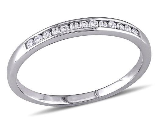 Channel Set Diamond Anniversary Wedding Band 1/8 Carat (ctw H-I, I2-I3) in 10K White Gold