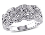 Braided Sterling Silver Ring with Diamonds 1/8 Carat (ctw)