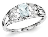 1/2 Carat (ctw) Emerald-Cut Aquamarine Ring in Sterling Silver
