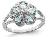 Genuine Aquamarine Flower Ring 4/5 Carat (ctw) in Sterling Silver