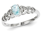 2/5 Carat (ctw) Aquamarine Heart Promise Ring in Sterling Silver