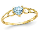 10K Yellow Gold Genuine Aquamarine Heart Promise Ring 2/5 Carat (ctw)