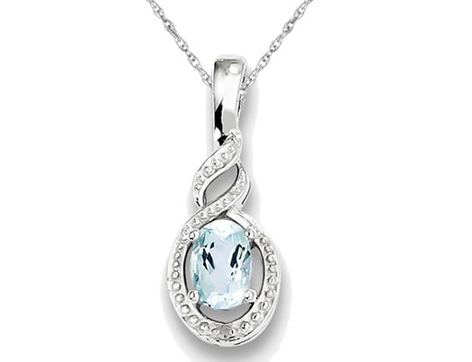 Sterling Silver Genuine Aquamarine Infinity Pendant Necklace with Chain 1/2 Carat  (ctw)