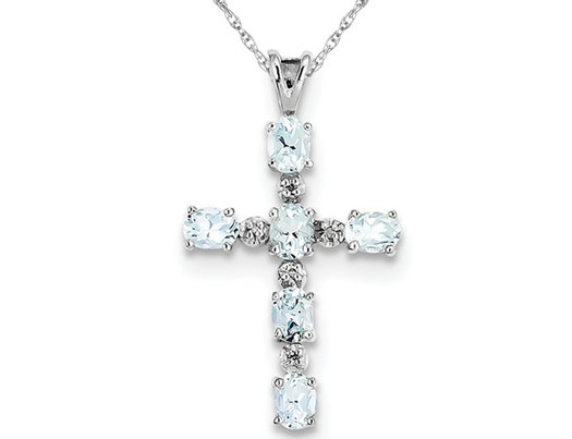 Sterling Silver Genuine Aquamarine Cross Pendant Necklace with Chain 9/10 Carat (ctw)