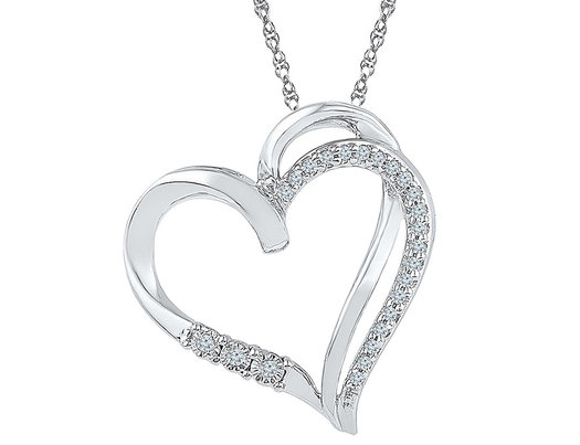 Heart Pendant Necklace in Sterling Silver with Accent Diamonds 1/10 Carat (ctw)