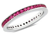 Created Synthetic Ruby Semi-Eternity Band Ring 3/4 Carat (ctw) in Sterling Silver