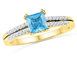 Lab Created Princess Cut Blue Topaz Engagement Ring 1/2 Carat (ctw) with Accent Diamonds in 10K Yellow Gold