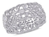 Diamond Vintage Filigree Ring 1/3 Carat (ctw) in Sterling Silver