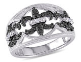 Enhanced Black and White Fleur De Lys Diamond Ring 1/4 Carat (ctw) in Sterling Silver with Black Rhodium