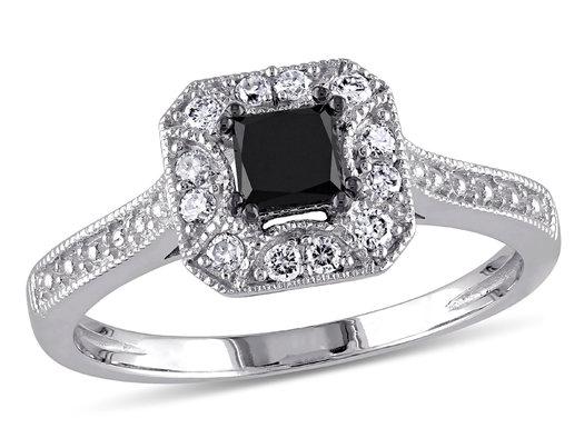 Enhanced Black and White Halo Princess Cut Diamond Engagement Ring 1/2 Carat (ctw) in 10K White Gold