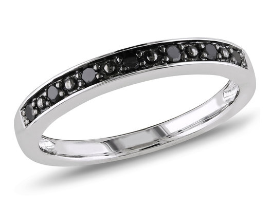 Black Diamond Wedding Band 1/10 Carat (ctw) in Sterling Silver with Black Rhodium
