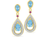 Lab Created Blue Topaz Drop Earrings 1.50 Carat (ctw) in 10K Yellow Gold with Diamonds 1/8 Carat (ctw J-K, I2_I3)