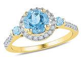 Lab CreatedBlue Topaz Ring 1.75 Carat (ctw) with Diamonds (ctw J-K, I2-I3) in 10K Yellow Gold