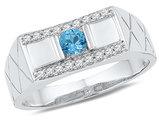 Men's Lab Created Blue Topaz Ring 1/3 Carat (ctw) with Diamonds (ctw I-J, I2-I3) in 10K White Gold