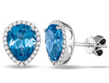 Natural Blue Topaz Drop Earrings 1.50 Carat (ctw) in 14K White Gold with Diamonds 1/4 Carat (ctw H-I, I2)