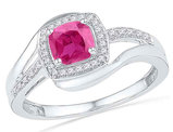 Ladies Lab Create Pink Sapphire 1.00 Carat (ctw) Ring in 10K White Gold with Diamonds