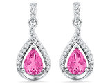 Lab Created Pink Sapphire 3.00 Carat (ctw) Drop Dangle Earrings in 10K White Gold with Diamonds
