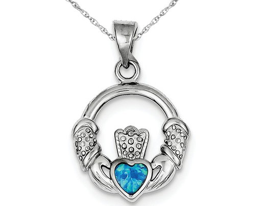 Lab Created Blue Opal Irish Claddagh Heart Pendant Necklace in Sterling Silver with Chain