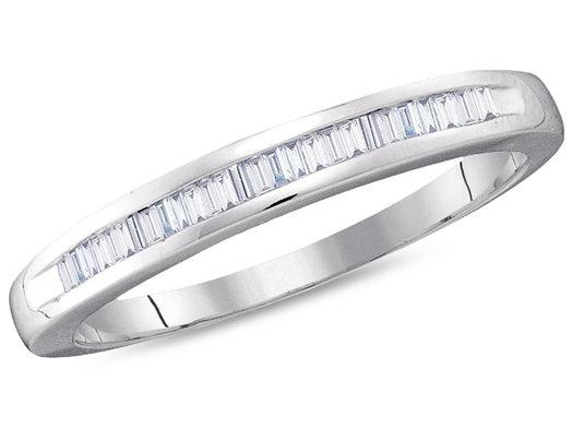 Ladies 10K White Gold 1/4 Carat (ctw J-K, I2-I3) Baguette Diamond Wedding Annversary Band