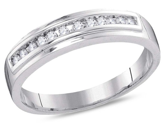 Ladies 10K White Gold 1/8 Carat (ctw I-J, I2-I3) Round Diamond Wedding Anniversary Band