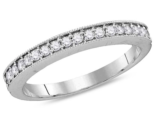 1/4 Carat (ctw J-K, I2-I3) 10K White Gold Pave Set Diamond Wedding Anniversary Band