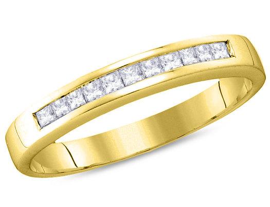 Ladies 14K Yellow Gold 1/4 Carat (ctw H-I, I1-I2) Princess Cut Diamond Wedding Anniversary Band