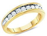 Ladies 10K Yellow Gold 1/4 Carat (ctw G-H, I3) Diamond Wedding Anniversary Band