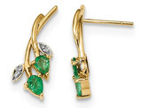 Natural Green Emerald Leaf Earrings 1/2 Carat (ctw) in 14K Yellow  Gold