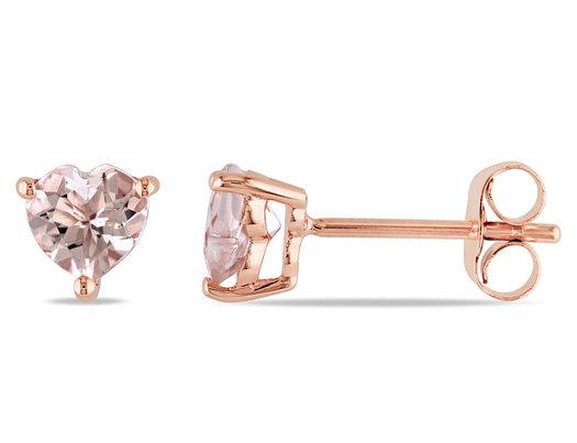 Morganite Solitaire Stud Heart Earrings 1.00 Carat (ctw) in 10K Rose Pink Gold
