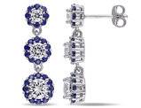 Created Synthetic White and Blue Sapphire 3.40 Carat (ctw) Drop Earrings in Silver