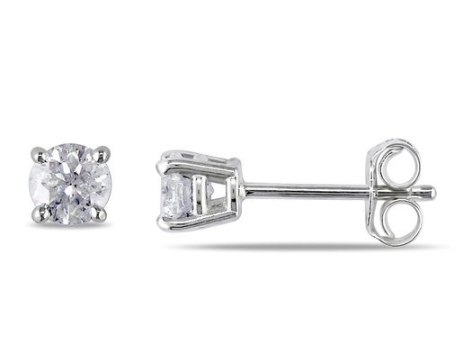 Diamond Solitaire Stud Earrings 1/2 Carat (ctw color I-J Clarity I2-I3) in Sterling Silver