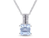 Square Blue Topaz Solitaire Pendant Necklace in Sterling Silver with Chain