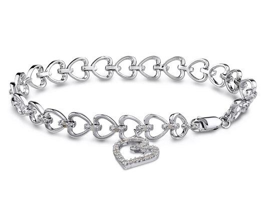 Sterling Silver Heart Charm Bracelet with Diamonds 1/2 Carat (ctw)